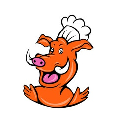 wild pig boar hog chef cook baker arms up vector image