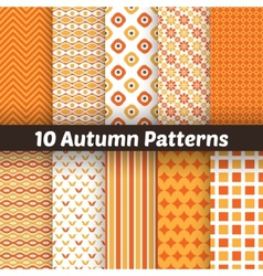 10 Autumn seamless patterns Endless texture for vector image