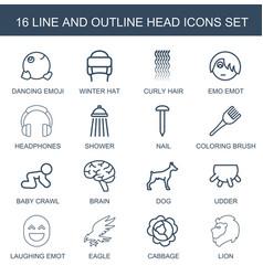 16 head icons vector