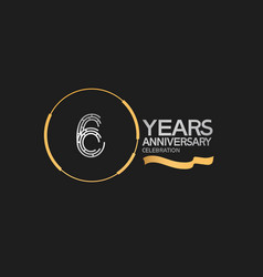 6 years anniversary logotype style with silver vector