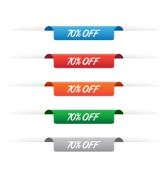 70 percent off paper tag labels vector image