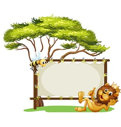 A king lion beside blank advert space vector