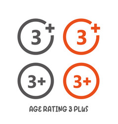 Age rating 3 plus movie icon under 3 years sign vector