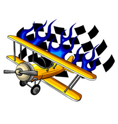 air racing retro race airplane vector image