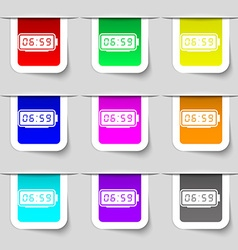 alarm clock icon sign Set of multicolored modern vector image