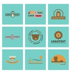 Assembly flat icons nature logo bear lion giraffe vector