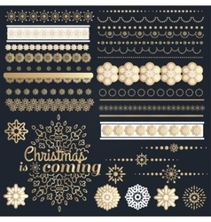 Big set of Christmas calligraphic design elements vector image