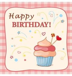 Birthday cartoon card with cupcake vector