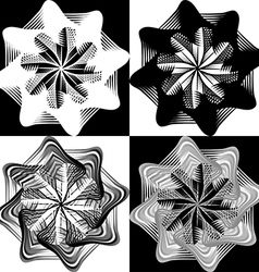 Black and white pattern lace flower snowflake vector image