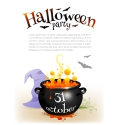 Black witches cauldron with orange brew and vector