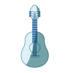 Blue shading silhouette of acoustic guitar vector