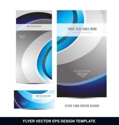 Blue silver grey flyer template design vector