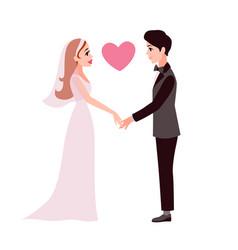 bride and groom cartoon happy romantic couple vector image