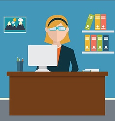 Business concept - woman sitting at the table and vector image