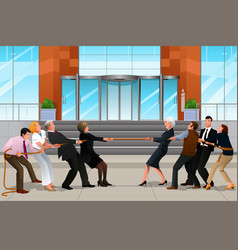 business people in a tug of war vector image