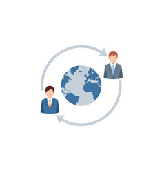 business persons on abstract world map background vector image