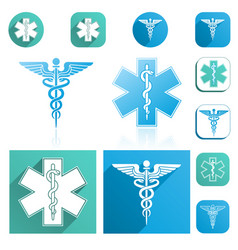 caduceus and esculapius staff icons set vector image