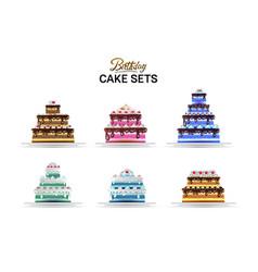 Cake birthday set design element isolated vector