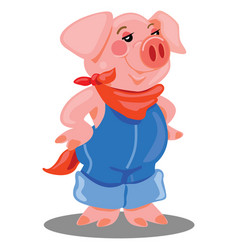 Cartoon country pig wearing overalls vector
