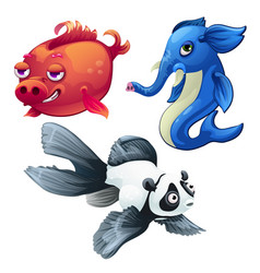Cartoon fish hybrids isolated on white background vector