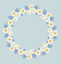 chamomile and forget-me-not flowers pattern on vector image