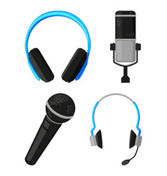 colorful cartoon various headset collection vector image