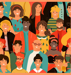 crowd people seamless pattern group diverse vector image