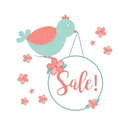 Cute bird with hanging wobler and sale inscription vector