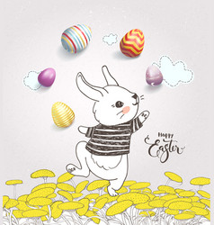 Cute hand drawn bunny dressed in striped t-shirt vector