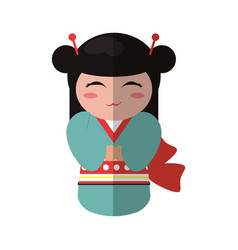 cute kokeshi doll traditional costume japanese vector image