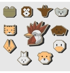 Cute origami animals stickers icon set vector image