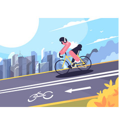 cyclist on track for cyclists vector image