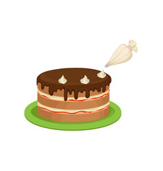 Decorating cake with cream from pastry bag vector