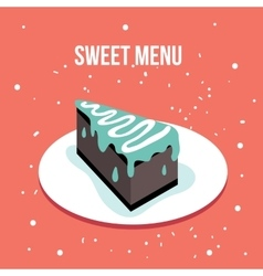 Delicious sweet cake dessert plate Modern cute vector