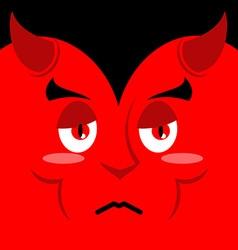 Devil sad Sadness emotion on red background Demon vector image
