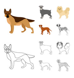 Dog breeds cartoonoutline icons in set collection vector