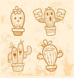 doodle cactus cartoon vector image