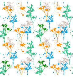 drawing seamless pattern with flowers vector image