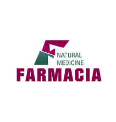 f letter icon for farmacia pharmacy vector image