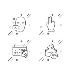 Face declined spanner and click hand icons set vector