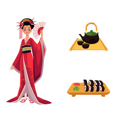 Flat geisha sushi and tea ceremony set vector