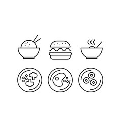 food line icons set fast food dishes cafe bar vector image