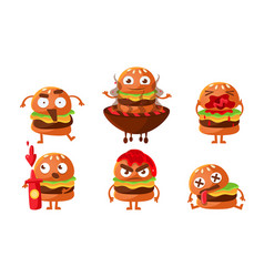 funny burgers set fast food cartoon character vector image