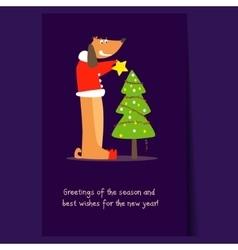 Funny dog and Christmas tree Flat vector image