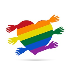 Gay flag in the form of heart with colored hands vector image