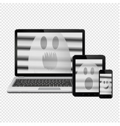 Ghost faces on digital devices screens isolated on vector