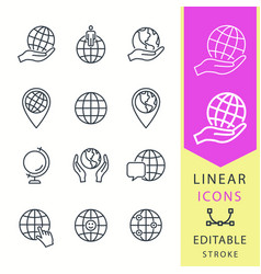 globe - line icon set editable stroke vector image