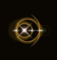 Golden shiny loop on a dark background bright vector