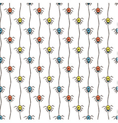 halloween pattern with spiders bright seamless vector image