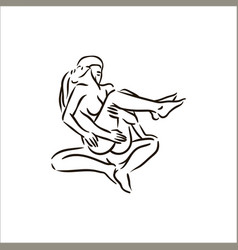 Hand drawn kama sutra sex pose man and vector